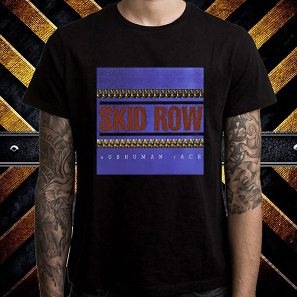Skid Row Subhuman Race Metal Band Men's Black T-Shirt Size S M L XL 2XL 3XL Cool Summer Tees free shipping Black