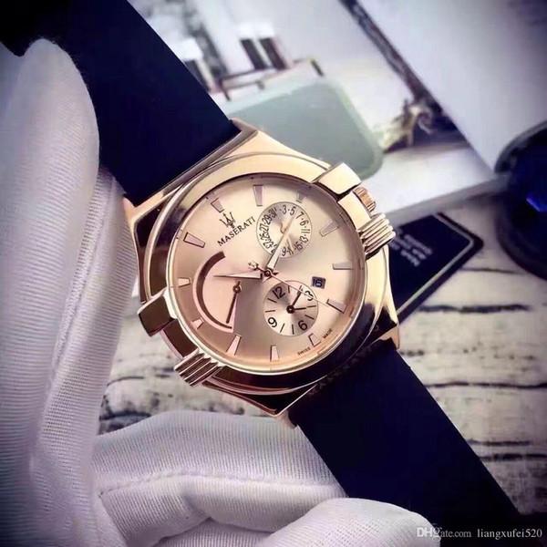 мода Италия Марка Мода Мазерати Повседневная Кожа Часы VOLARE Женщины Мужчины 42мм Busines Кварцевые часы наручные часы спорта Мужские часы подарок