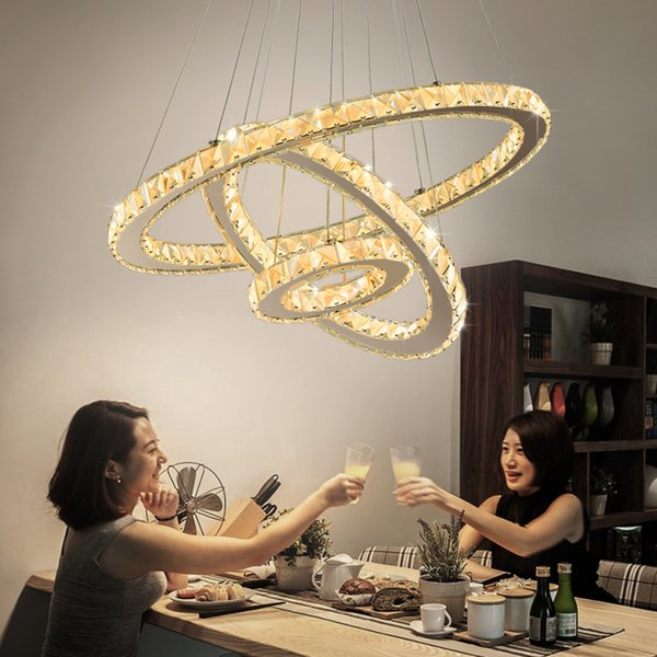 lustre cristal lámparas LED modernas para sala de estar dormitorio lámpara de cristal con acabado de plata accesorios de iluminación para el hogar 110 V / 220 V