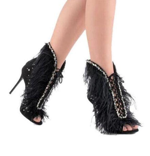 Kid Suede Feather Women Sandals Peep toe high heels pink black women Jewel shoes cross strap Gladiator sandalias mujer