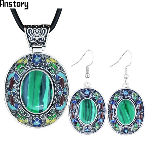 Malachite Jewelry Sets Stone Necklace Earrings Hand Painting Craft Flower Plant Bohemia Fashion Jewelry TS457