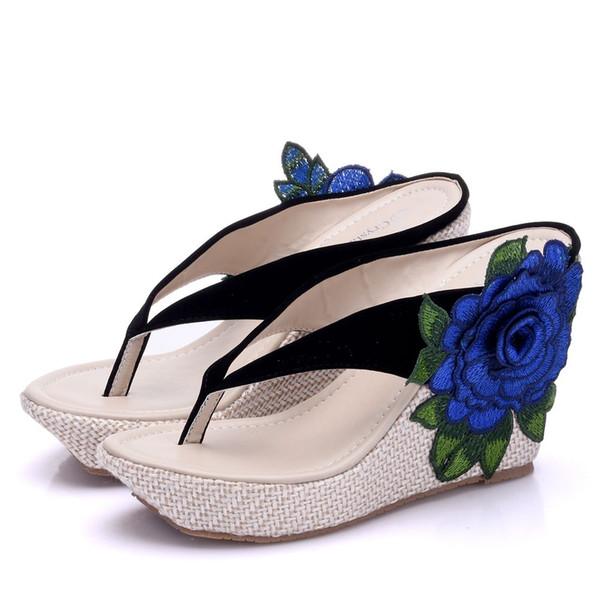 Crystal Queen New Arrive Flip Flops Women Sandals Fashion Wedges Summer Shoes Elegant Flower Platform High Heels Shoes
