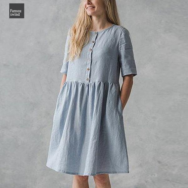 Elbise Kadınlar Vintage Pamuk Gömlek 2019 Yaz Kısa Kollu Düğmeler Gevşek Katı Casual Parti Diz Boyu Artı boyutu