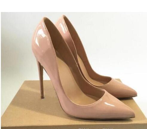 2019 Então Kate Estilos 8 cm 10 cm 12 cm Sapatos de Salto Alto Vermelho Inferior Cor Nude Couro Genuíno Ponto Toe Bombas de Borracha Sapatos De Casamento # 9036
