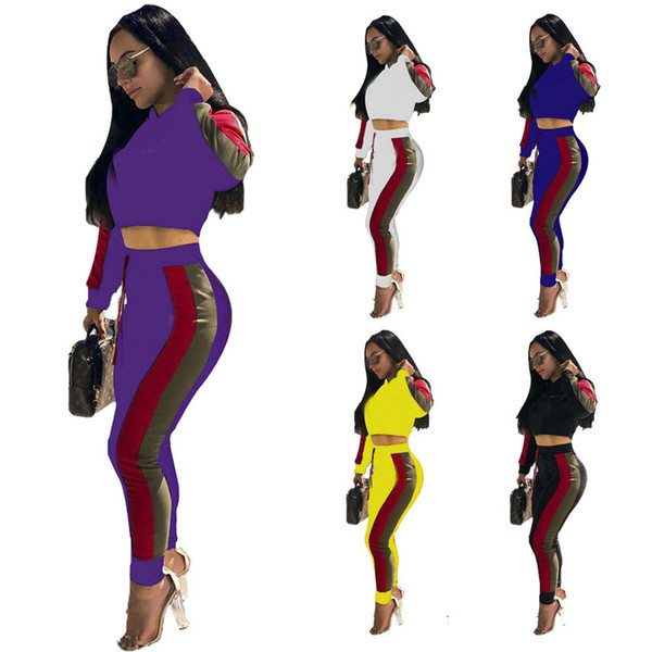 Brand Designer Women Hooded Tracksuit Champions Letter Stripped Outfit Hoodies Leggings Pants 2pcs set C Jogger Sportswear Clothes Suit