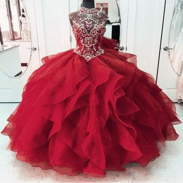 Red Quinceanera Dresses Off Shoulder Ballkleid Puffy Tulle Prom Dress Schnürkleider Sweet 16 Formelle Kleider