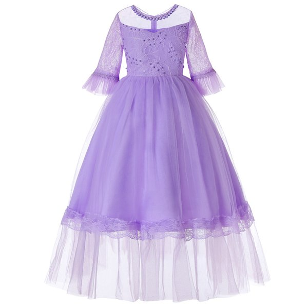 Designer Baby Girls Dresses Mesh Full Sleeve Layed Tutu Dress Bead Lace Elegant Princess Dress XMAS Evening Party Dress Ceremony Costume