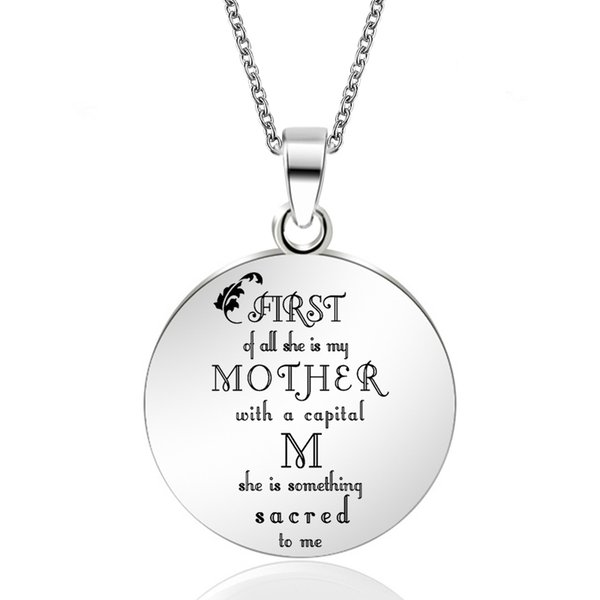 ABAICER Mother's Day Gifts Stainless Steel Pendant Necklaces Engrave Name Love Tag Necklaces Customized Logo Jewelry
