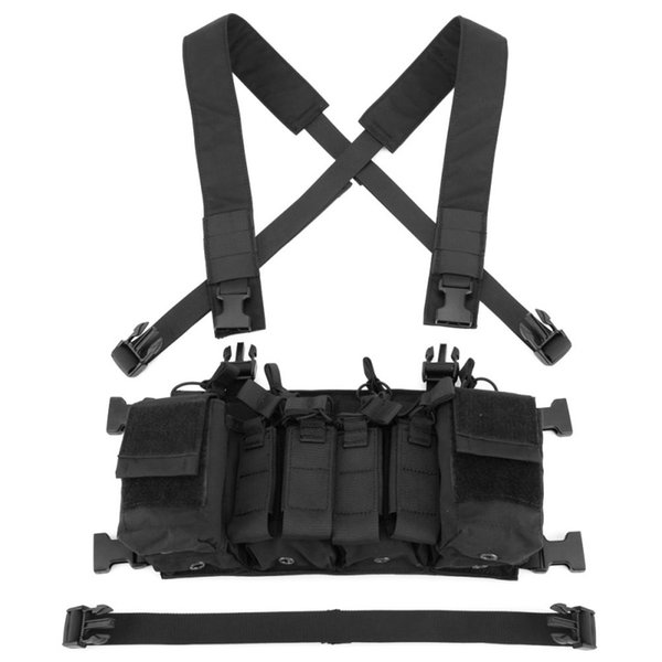 Easy Chest Rig Vest Tactical Combat Recon Vest with Magazine Pouch Hunting Paintball Multicam