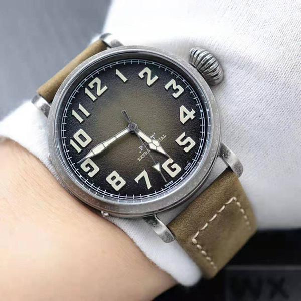 Sıcak Satış Yeni Erkek İzle Otomatik Hareketi Aydınlık 40mm Arama Plaka Deri Kayış En kaliteli Saatı
