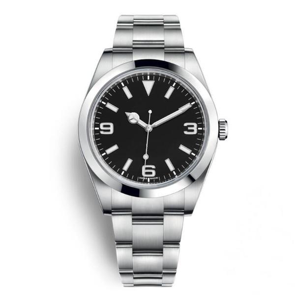 Yeni varış Lüks İzle Explorer Siyah Kadran Paslanmaz Çelik Otomatik İzle Casual Tarih Reloj De Lujo montre Relojes De Marca Kol