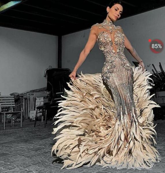 best selling Evening dress Yousef aljasmi Kim kardashian Mermaid High neck Feather Silver Beads Long dress Crystals Zuhair murad Ziadnakad 0011