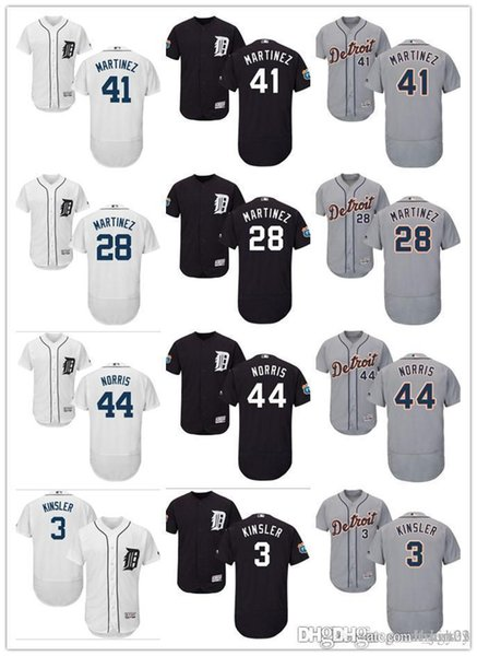 Hombres mujeres Tigres Detroit Jersey # 3 Ian Kinsler 3 Alan Trammell 44 Daniel Norris 41 Victor Martinez 28 J. D. Martinez Jerseys de béisbol