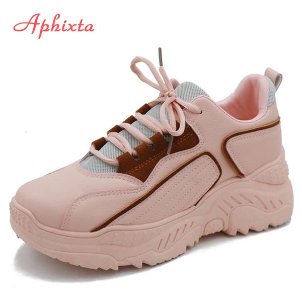 Acheter Aphixta Platform Chaussures Femme Baskets Printemps Femmes Sport Baskets Chaussure Femme À Semelles Épaisses À Lacets À Talons Hauts