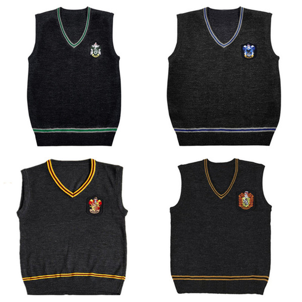 Harry Potter Sweater Vest V-neck COS Magic School Waistcoat Slytherin Gryffindor Ravenclaw Cosplay Costume Men Women Uniform Sweater XS-2XL