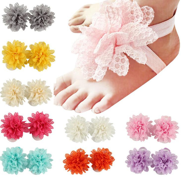 Baby Sandals Flower Shoes Cover Barefoot Foot Lace Flower Ties Infant Girl Kids First Walker Shoes Photography Props 13 Colors 14601