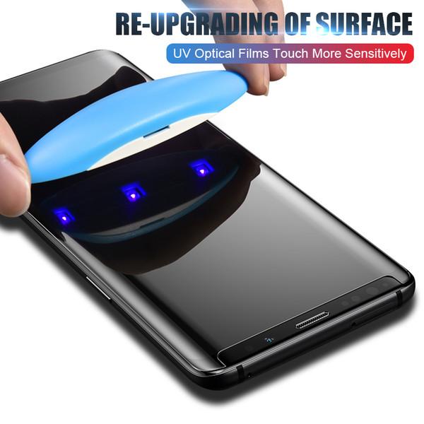 Pour Samsung Note 9 8 S9 S8 S7 Huawei P30 Pro 5D pleine Colle liquide Protection d'écran UV en verre trempé téléphone écran