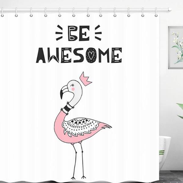 Dibujos Impresionantes De Navidad.Compre Divertido Lindo Ser Impresionante Flamingo Cortina De Ducha De Dibujos Animados Rosa Flamingo Cortina De Bano Para Su Hermana Hermana Regalo De
