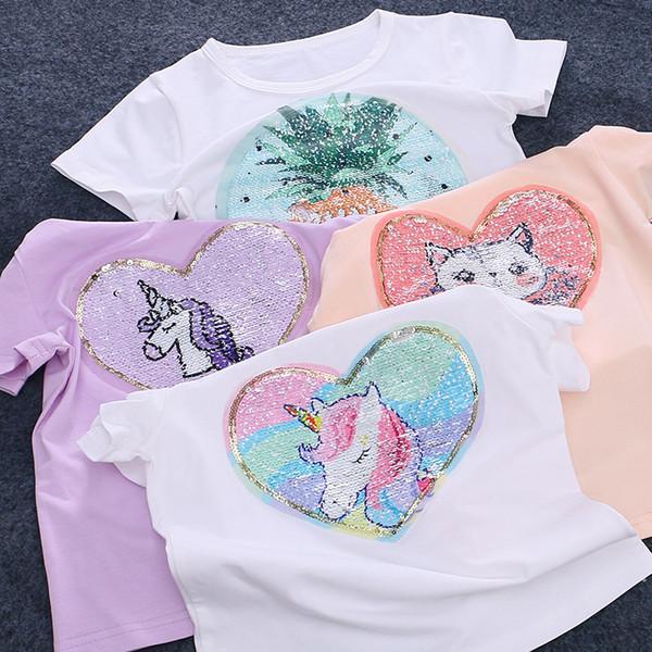 Mädchen süße doppelte Farben reversible Pailletten T-Shirt Einhorn Ananas Katze Emoji Apttern 2 Colorways Farbe ändern Sommer Pailletten Kleidung