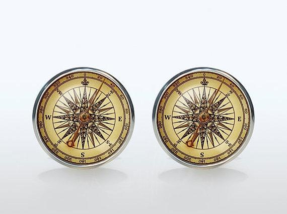 High Quality Vintage Compass French Shirt Cufflinks Silver Brand Glass Cuff Mens Groom Accessories Sleeve Button Man Woman