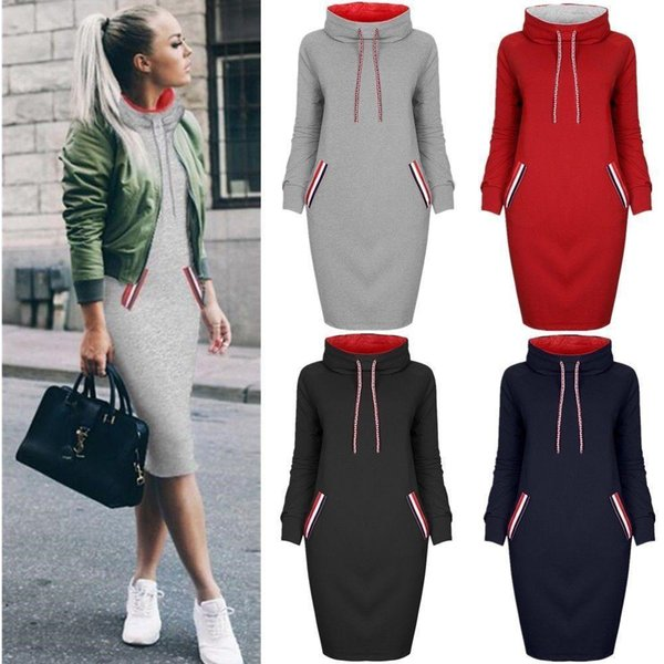 5 colour s-3xl women autumn winter knee length casual hooded pencil hoodie long sleeve sweater pocket bodycon tunic dress