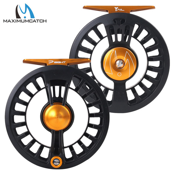 Cheap Fishing Reels Maximumcatch Tail 3 4 5 6 7 8wt Light Weight Fly Fishing Reel Large Arbor Teflon Disc Black Fly Reel
