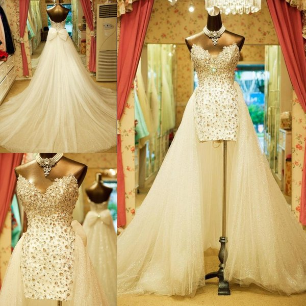 Sweetheart Beaded Crystals Sequined High Low Wedding Dresses Sexy Column Short Bridal Dress Detachable Train Lace up Bow Back Wedding gowns
