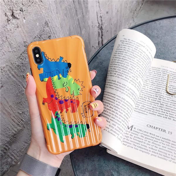 Orange Karikaturdinosaurier 8plus / 7p / 6Apple x Handyfall XS maximales / XR / iPhoneX weibliches iPhone 6S Anti-Fall Schutzabdeckung neues Modell