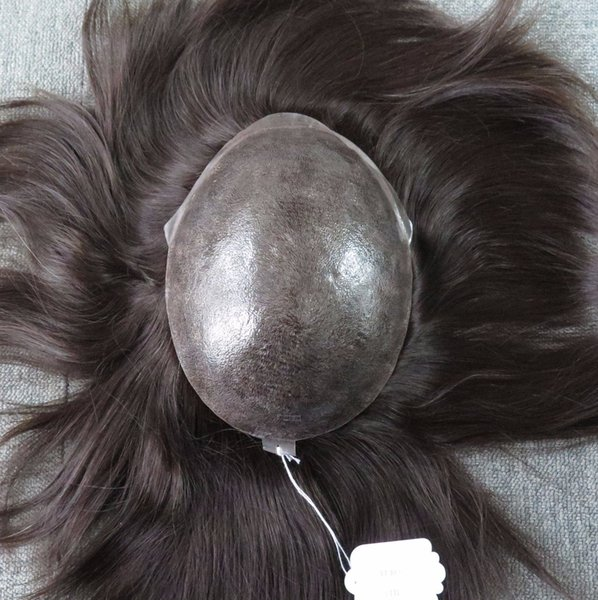 Beyounghair Stock Euro Hair Topper Full Skin Injection Hair Piece for men Absolutely Natural Looks Natural Black Color 1B male Toupee