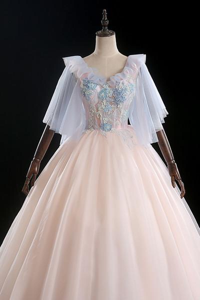 роскошный бледно-розовая бабочка рукав вышивка бальное старинные средневековые платья Ренессанс принцесса фея костюм викторианской платье / Marie