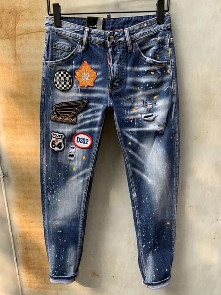 2019 Mode Casual Hommes Denim Coolguy Jean Broderie Pantalon Trous Jeans Bouton Pantalon D2 Long Pantalons