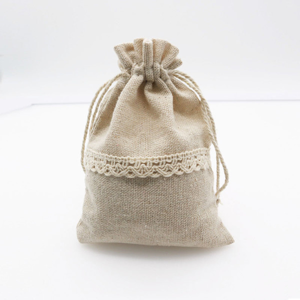 50Pcs Linen Cotton Bags 9.5x13 12x17.5cm Small Party Favor Charms Nuts Jewelry Packaging Bags Muslin Drawstring Gift Bag Pouches