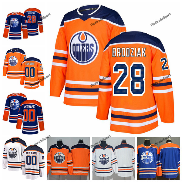 2019 Personalizar Edmonton Oilers Kyle Brodziak Hockey Jerseys para hombre nuevo azul naranja 28 Kyle Brodziak cosido Jerseys camisas S-XXXL