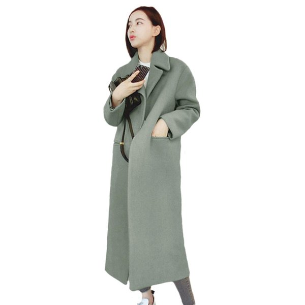 Korean Style Fashion CHIC Autumn and Winter Long Thick Woolen Coat Slim Knee-length Overcoat Female Lapel Collar Windbreak