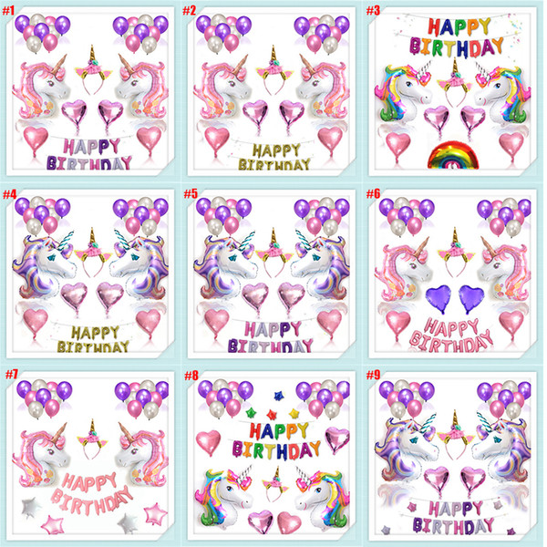 Unicorn Balloons Different Combination Set - Partyzubehör aus Roségold mit Herz-Luftballons für einen wunderschönen Geburtstagsstrauß