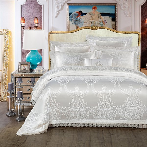 King Queen size White Red Luxury Wedding Bedding Set Jacquard Cotton Bed set Duvet Cover Bed/Flat Sheet Bedlinen Pillowcase
