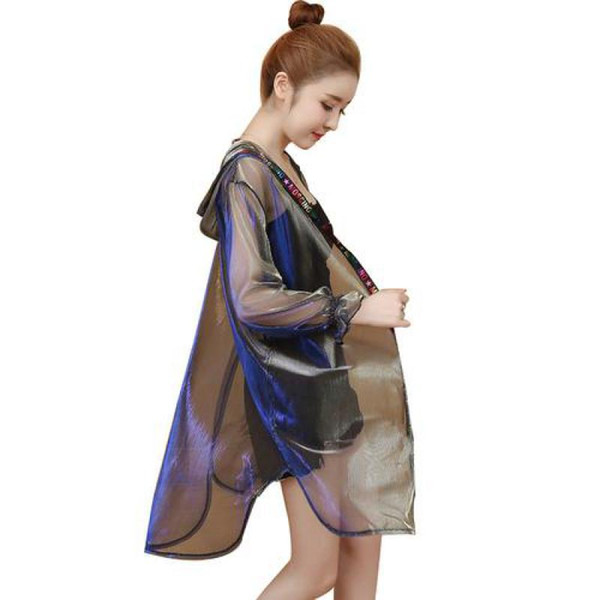 Las mujeres de Corea delgada de la chaqueta de moda ilusión Brillante Medio Largo perspectiva Coats señoras de la playa del verano con capucha Harajuku rompevientos