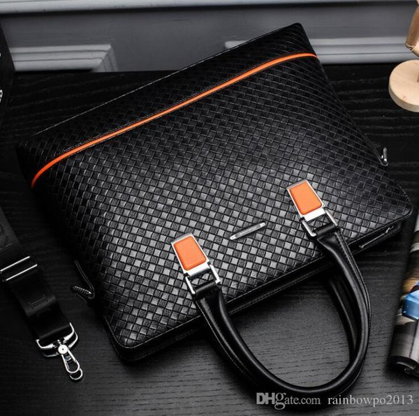 wholesale brand package fashion woven leather portable briefcase business woven men handbags gentleman temperament leather business package