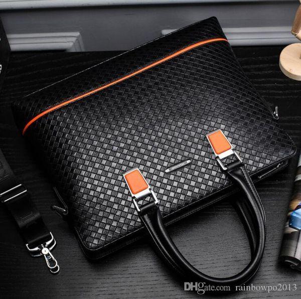 Toptan marka paket moda dokuma deri taşınabilir evrak çantası iş dokuma erkek çanta beyefendi mizaç deri iş paketi