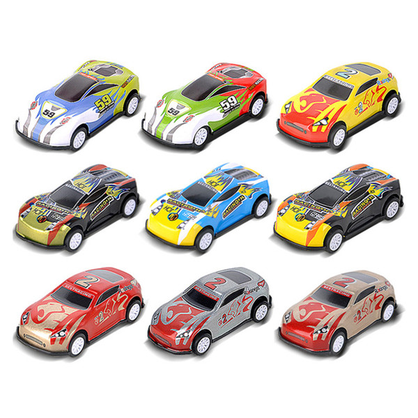 Pull Back Car 9 Patterns Assorted Mini Plastic Vehicle Set Pull Back Car Toys for Boys Kids Child Party Favors Simulated iron Racing Cars