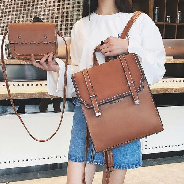 Joypessie New Design Women Backpack 2pcs Fashion Vintage School Bag Brand Quality Girls Travel Backpack For Women Shoulder Bag #172721