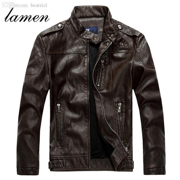 Fall Men's Sheepskin washed Leather Jacket Fur Stand Collar PU Motorcycle Jaqueta Masculinas Inverno Couro Winter Jacket Men