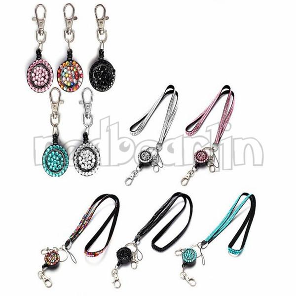 Cordino di strass di cristallo Bling con bobina retrattile per cordino porta badge identificativo