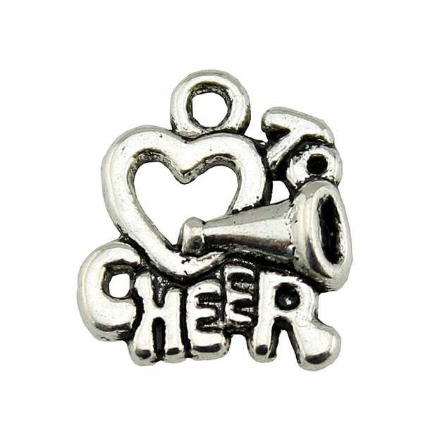80pcs Charm I Love To Cheer I Love To Cheer Pendant Charms For Jewelry Making Antique Silver I Love To Cheer Charms 16x17mm