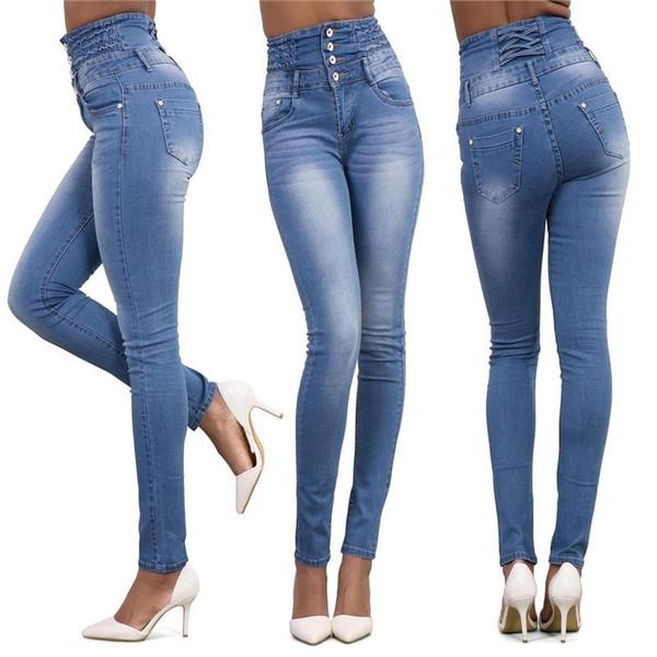 Herbst Frauen Jeans Plus Größe Hohe Taille Hosen Dünne Stretch Freizeithose Für Frau Blau Party Club Frauen Kleidung Großhandel