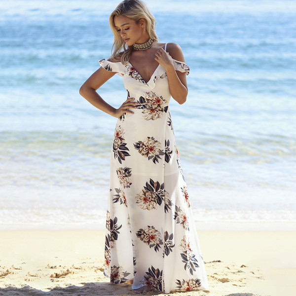 Цветочный принт с оборками длинное платье женщин ремень V шеи сплит пляжные летние платья с плеча Vestidos J190529