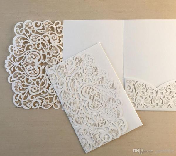 best selling 2019 Marsala Ivory Pocket Wedding Invitations Shimmy Die Cut Jackets Wedding Invites Provide 20+ Color Customizable Free Shipping