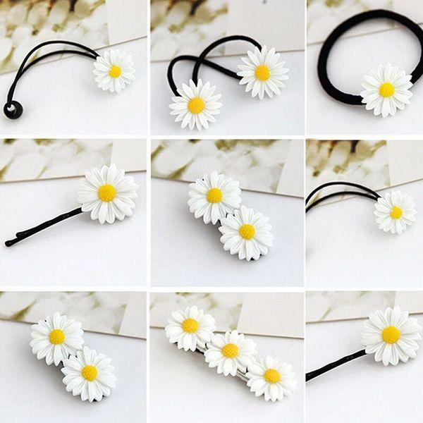2 ADET Mini Papatya Çiçek Süs Saç Klip Bobby Pins Elastik Saç Halka Halat Bantları Tokalar At Kuyruğu Tutucu Takı Aksesuarları