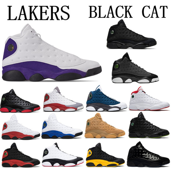 2019 13 13s Lakers Hombres Zapatillas de baloncesto Gorra y bata Atmósfera Gris Terracota Negro Infrarrojo Fantasma Hiper Chicago Gato negro Tamaño 7-13