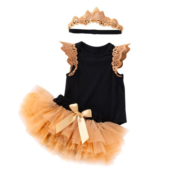 Retail girls boutique outfits summer 3pcs skirt sets black flying sleeve romper+bow tutu skirt+crown baby tracksuit kids designer clothes
